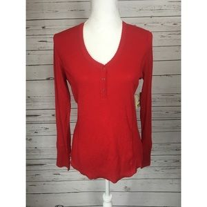 PJ Salvage NEW Red Long Sleeve Top Button Large